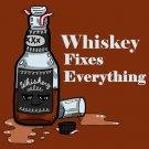 Whiskey Fixes Everything Drinking Humor Cartoon - Vinyl Sticker