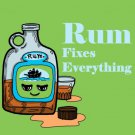 Rum Fixes Everything Drinking Humor Cartoon - Vinyl Sticker