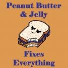 Peanut Butter & Jelly Fixes Everything Food Humor Cartoon - Vinyl Sticker
