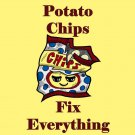 Potato Chips Fix Everything Food Humor Cartoon - Vinyl Sticker