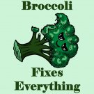 Broccoli Fixes Everything Food Humor Cartoon - Vinyl Sticker