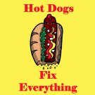 Hot Dogs Fix Everything Food Humor Cartoon - Vinyl Sticker
