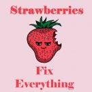Strawberries Fix Everything Food Humor Cartoon - Vinyl Sticker