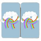 """""""Mr. Cloud's New Scarf"""" Wearing Rainbow Funny - Womens Taiga Hinge Wallet Clutch"""