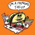 Freakin Taco Funny Mexican Food Cartoon - Vinyl Sticker