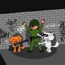 Bad Cats w/ Cop Funny Cartoon Tagged Brick Wall - Vinyl Sticker