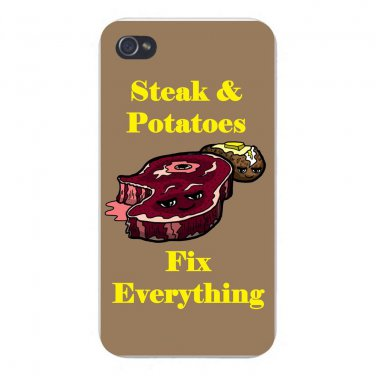 Steak & Potatoes Fix Everything Food - FITS iPhone 5 5s Plastic Snap On Case