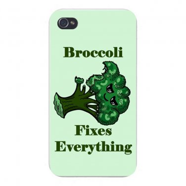 Broccoli Fixes Everything Food Humor - FITS iPhone 4 4s Plastic Snap On Case