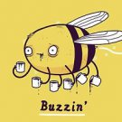 """Buzzin"" Funny Bumblebee Bee Drinking Coffee - Rectangle Refrigerator Magnet"