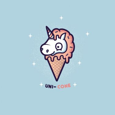 """Unicone"" Mythical Unicorn Ice Cream Cone Funny Cartoon - Vinyl Sticker"