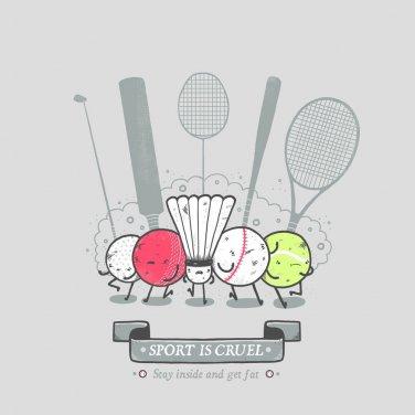 """""""Sport is Cruel"""" Funny Sport Ball & Racquet Gang """"Get Fat"""" - Vinyl Sticker"""