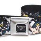 DC Comics Wonder Woman Seatbelt Belt - Wonder Woman Stars Black/White