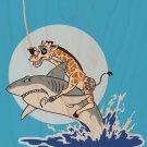"""Pirate Giraffe"" Riding Shark Jumping Water - Plywood Wood Print Poster Wall Art"