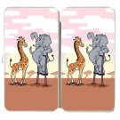 """Elephant Stilts"" Standing w/ Giraffe Cartoon - Womens Taiga Hinge Wallet Clutch"