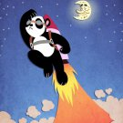 Panda Going to Moon Taking Off w/ Space Rocket - Rectangle Refrigerator Magnet