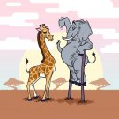 """Elephant Stilts"" Standing w/ Giraffe Funny - Rectangle Refrigerator Magnet"