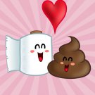 """Best Friends"" Toilet Paper & Poop in Love Heart - Rectangle Refrigerator Magnet"
