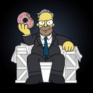 Funny Donut Cartoon TV Show Parody of Political Character 1 - Vinyl Sticker