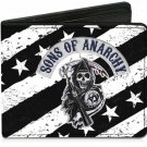 Sons of Anarchy SOA TV Show - Skull Grim Reaper w/Stars & Stripes Bi-Fold Wallet