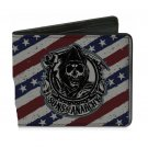 Sons of Anarchy - Skull Grim Reaper Logo USA Flag Red White & Blue BiFold Wallet