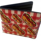 Hot Dogs Smiling Cartoon Food On Picnic Table Plaid Bi-Fold Wallet