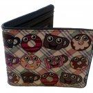 Donunts & Coffee Smiling Cartoon Characters Plaid Background Bi-Fold Wallet