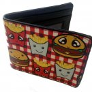Burger & Fries Cute Food Cartoon Images Bi-Fold Wallet