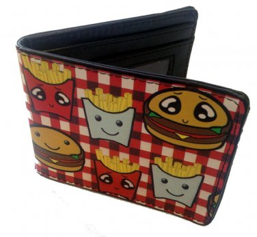 Burger & Fries Cute Food Cartoon Images Bi-Fold Wallet