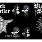 Black Butler Anime Mini Characters on Black w/ Seal Logos Bi-Fold Wallet