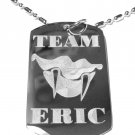 Military Dog Tag Metal Chain Necklace - Team Eric Blood Vampire Fangs TV Show