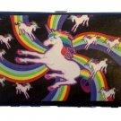 Unicorn Rainbow Swirls Colors Lady Bi-Fold Hinge Wallet