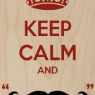 """Keep Calm & """"Mustache"""" Red & Black - Plywood Wood Print Poster Wall Art"""
