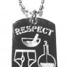 "Military Dog Tag Metal Chain Necklace - ""Respect The Chemistry"" Underwear Lab"