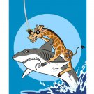 """Pirate Giraffe"" Riding Shark in Water - FITS iPhone 5 5s Plastic Snap On Case"