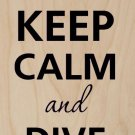 Keep Calm & Dive On Diver & Dolphin - Plywood Wood Print Poster Wall Art