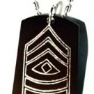 Army Military Officer First Sergeant Sgt Rank - Dog Tag w/ Metal Chain Necklace