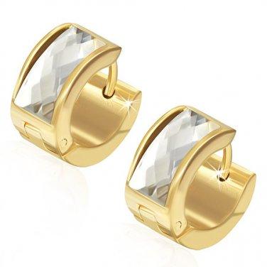 Gold with White Gemstone Huggie Earrings