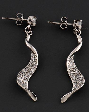 Silver Rhinestone Twist Earrings