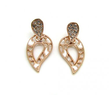 Rose Gold and White Teardrop Earrings