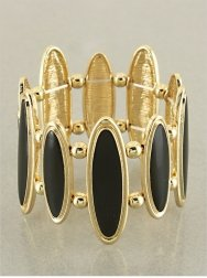 Gold & Black Oval Link Bracelet