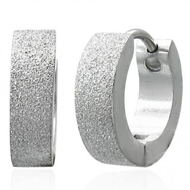 Silver Sandblasted Huggie Earrings