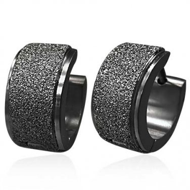 Wide Black Sandblasted Huggie Earrings