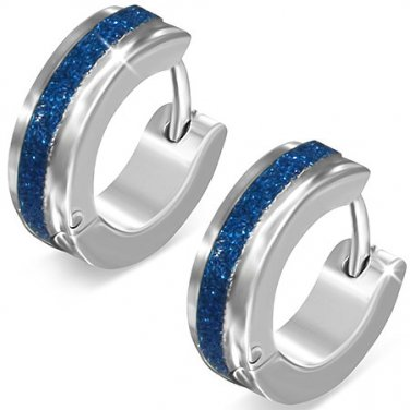 Silver With Blue Sandblasted Stripe Huggie Earrings