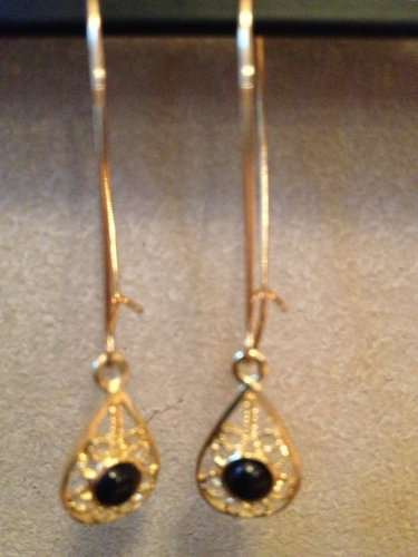 Gold Hoop Earrings with Gold & Black Teardrop