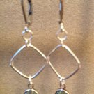 Silver Small Square Earrings with Light Blue Swarovski Crystals