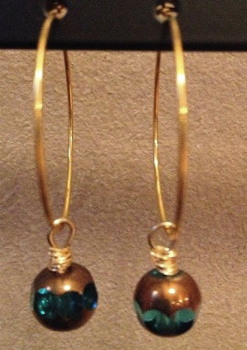 Teal and Gold Bead Hoop Earrings