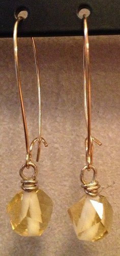 Long Gold Earrings with Yellow Crystal Beads