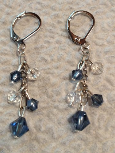 Blue Jean and Whie Swarovski Crystal Earrings