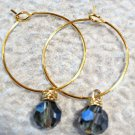 Gold Hoops with Jean Blue Crystals