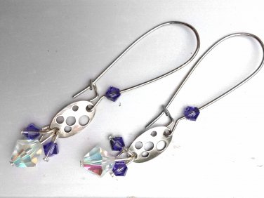 Silver Long Earrings with Purple Swarovski